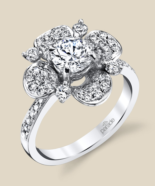 Diamond floral engagement ring.
