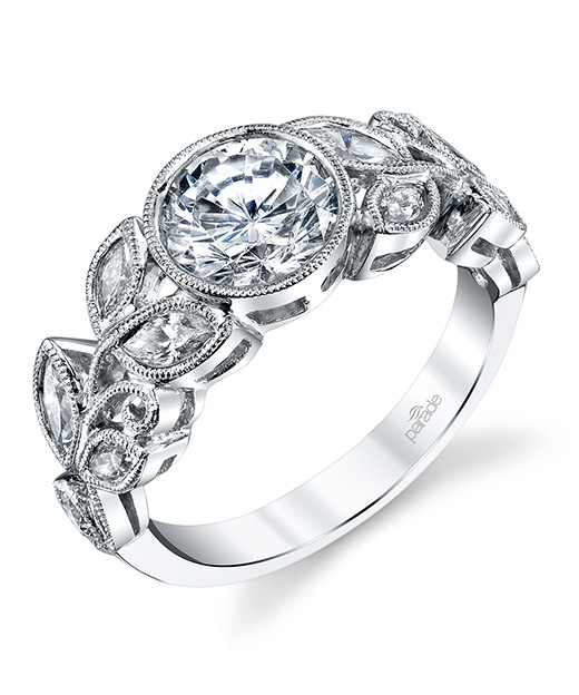 Nature inspired designer diamond engagement ring by Parade Design.