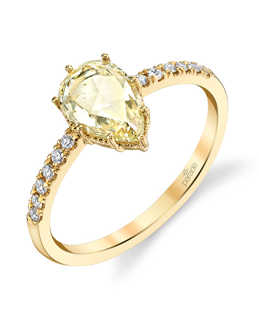 Fancy yellow diamond designer engagement ring by Parade Design.