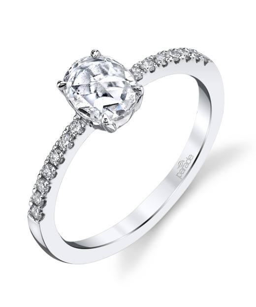 Designer oval rose cut diamond engagement ring by Parade Design.