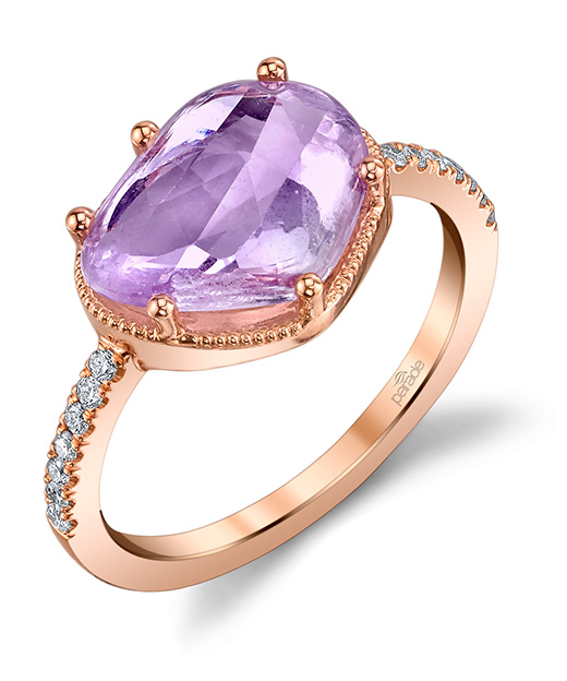 Designer diamond and pink sapphire fashion ring by Parade Design.