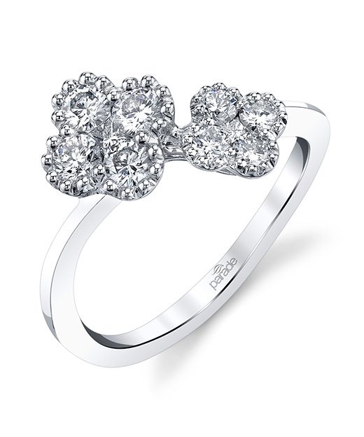 Designer diamond fashion ring by Parade Design featuring cluster blossoms in an open wrap design.
