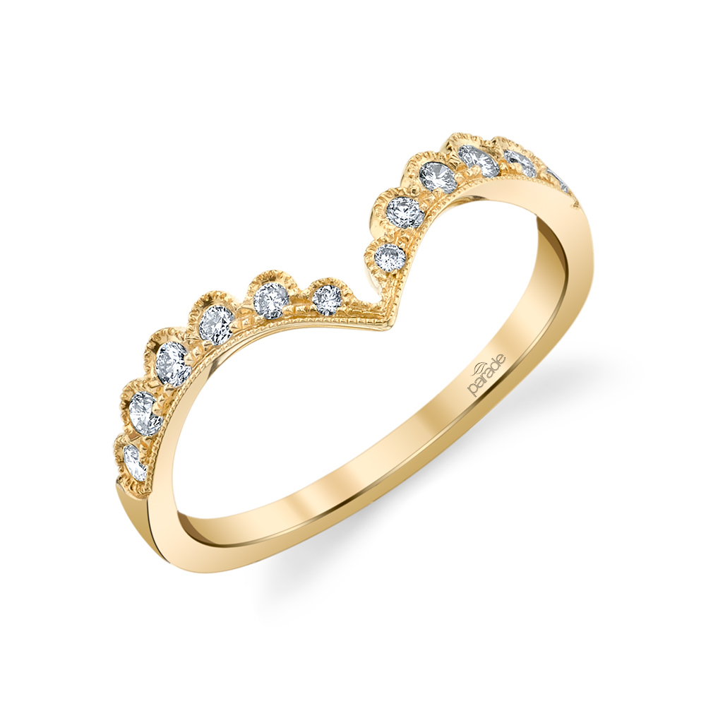 Designer diamond chevron ring from the Lumiere Bridal Collection by Parade Design.