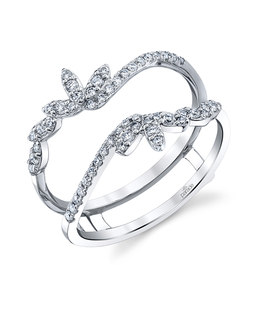 Designer diamond ring guard matching band by Parade Design.