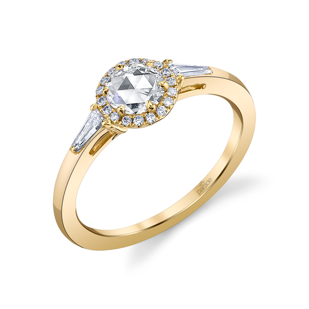 Designer diamond engagement ring by Parade Design, with rose cut diamond and halo.