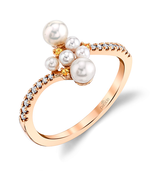 Designer diamond and pearl cluster fashion ring by Parade Design.
