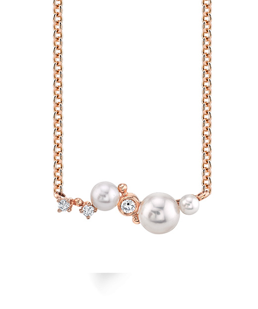Designer diamond and pearl necklace by Parade Design.