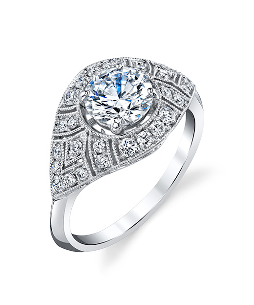 Art-Deco, Vintage designer diamond engagement ring by Parade Design.