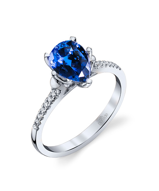 Designer diamond and blue sapphire ring by Parade Design.