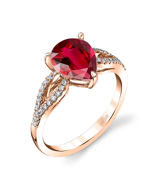 Designer diamond and rubellite tourmaline ring by Parade Design.