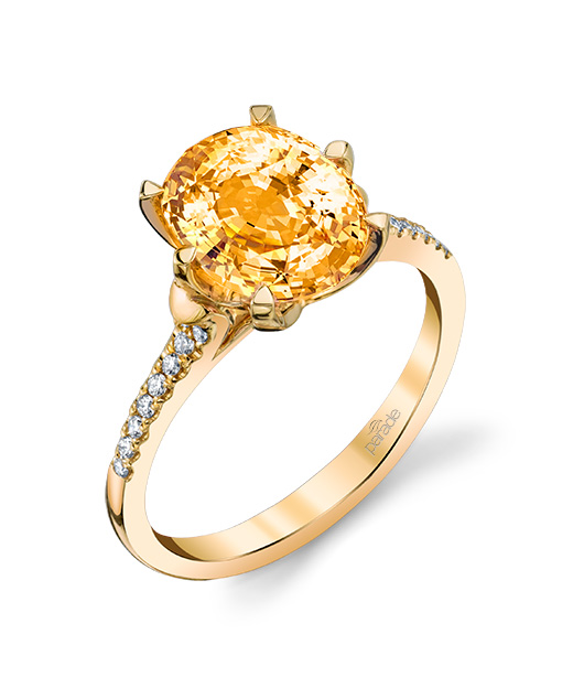 Designer diamond and peach sapphire ring by Parade Design.