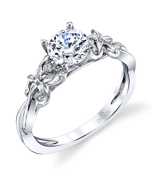 Nature-inspired designer diamond floral engagement ring by Parade Design.