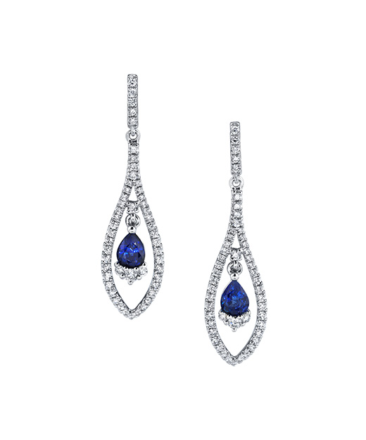 Designer diamond and blue sapphire dangle earrings by Parade Design.