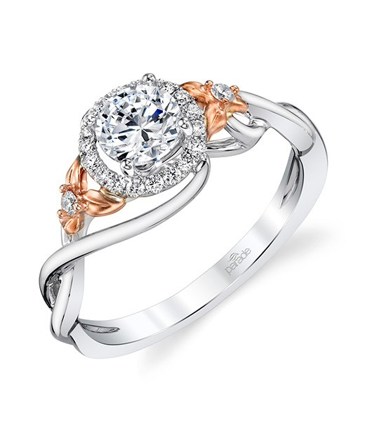 Designer, nature inspired, diamond halo engagement ring by Parade Design.