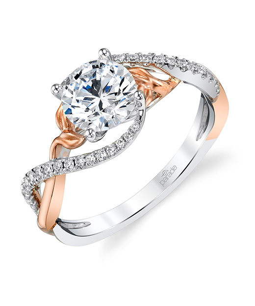 Designer diamond, contemporary, nature inspired engagement ring by Parade Design.